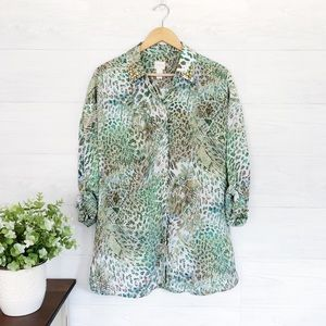 Chicos Green Brown Print Button Down Jewel Top 682